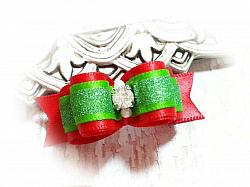 """5/8"""" Dog Bow - Lime Glitter and Red Satin Christmas Bow-dog bow, topknot bow, show dog bow, red, green, lime, sparkle, glitter, Christmas, Xmas, Holiday, rhinestone, beads, fancy"""