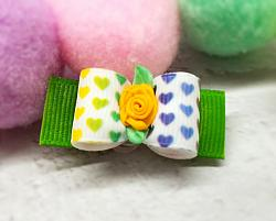 """5/8"""" Dog Bow Colorful Hearts with Yellow Ribbon Flower-dog bow, topknot bow, show dog bow, rainbow, hearts, valentines day, holiday, sweetheart, ribbon flower, yellow, white, lime green, purple"""