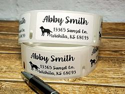 """1"""" x 2"""" Labrador Retriever Dog Personalized Address Multipurpose Thermal Print Roll Labels-roll labels, Labrador Retriever dog, dog silhouette, address labels, mailing labels, thermal print labels, black, snail mail, bill pay, label"""