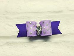 """5/8"""" Dog Bow - Lilac with Silver Foil Dots and Rhinestone Center-dog bow, topknot bow, show dog bow, lilac, purple, dots, rhinestone, beads, fancy, girl, silver"""
