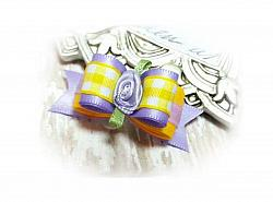 """5/8"""" Dog Bow - Lilac Satin and Yellow Gingham with Lilac Ribbon Flower-dog bow, topknot bow, show dog bow, girl, lilac, purple, gingham, plaid, yellow, spring, flower, rose"""