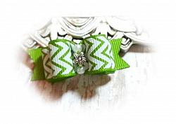 """5/8"""" Dog Bow - Lime Chevron with Silver Flower and Beads-dog bow, topknot bow, show dog bow, lime, white, chevron, green, flower, silver, beads"""