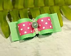 """5/8"""" Dog Bow - Mint and Hot Pink Dots with Beads-dog bow, topknot bow, show dog bow, mint, green, pink, dots, girl, beads, pearl, hot pink"""