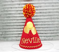 Dog Birthday Hat in Red with Gold Balloons Personalized-dog birthday hat, pet birthday, balloons, girl, boy, personalized, red, gold boy, girl