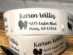 "1"" x 2"" Pomeranian Dog Personalized Address Multipurpose Thermal Print Roll Labels-roll labels, Pomeraniandog, dog silhouette, address labels, mailing labels, thermal print labels, black, snail mail, bill pay, label"