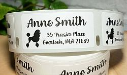 """1"""" x 2"""" Poodle Dog Personalized Address Multipurpose Thermal Print Roll Labels-roll labels, Poodle dog, dog silhouette, address labels, mailing labels, thermal print labels, black, snail mail, bill pay, label"""
