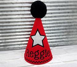 Dog Birthday Hat in Red with Silver Star Personalized-dog birthday hat, pet birthday hat, red birthday hat, pet party hat, personalized, embroidered, birthday star, gotcha day, black, silver, glitter