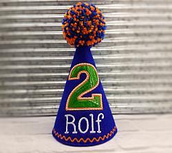 Dog Birthday Hat in Royal Blue with Green Gator Birthday Number Personalized-dog birthday hat, pet birthday hat, blue birthday hat, pet party hat, royal blue, florida gators, green, white, orange, scales, boy