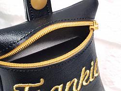 Personalized Black Poop Bag Holder Dispenser Embroidered (9 Options)-dog poop bag holder, dispenser, waste bag holder, dog duty bag, black, personalized, gold silver, pink, girl, boy, vinyl, paw, lime, yellow, light blue, turquoise, orange