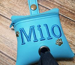Personalized Aqua Blue Poop Bag Holder Dispenser with Paws Embroidered-dog poop bag holder, dispenser, waste bag holder, dog duty bag, blue, personalized, paws, turquoise