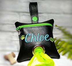 Personalized Black/Lime Poop Bag Holder Dispenser with Paws Embroidered-dog poop bag holder, dispenser, waste bag holder, dog duty bag, lime, paws, blue