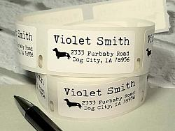 """1"""" x 2"""" Dachshund Dog Personalized Address Multipurpose Thermal Print Roll Labels-roll labels, dachshund dog, dog silhouette, address labels, mailing labels, thermal print labels, black, snail mail, bill pay, label"""