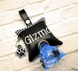 Buffalo Plaid Poop Bag Holder Dispenser with Paw Charm Personalized-dog poop bag holder, dispenser, waste bag holder, dog duty bag, paw, paws, black, white, buffalo plaid, charm, silver, white, personalized