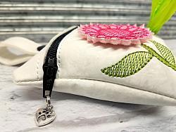 Pink Daisy Flower Poop Bag Holder Dispenser Personalized-dog poop bag holder, dispenser, waste bag holder, dog duty bag, pink, white, flower, daisy, floral, girl, boy, poop, bag, personalized