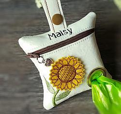 Yellow Sunflower Flower Poop Bag Holder Dispenser Personalized-dog poop bag holder, dispenser, waste bag holder, dog duty bag, flower, sunflower, floral, yellow, fall, autumn, white