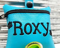 Personalized Turquoise Poop Bag Holder Dispenser with Paws Embroidered-dog poop bag holder, dispenser, waste bag holder, dog duty bag, blue, personalized, paws, turquoise, black